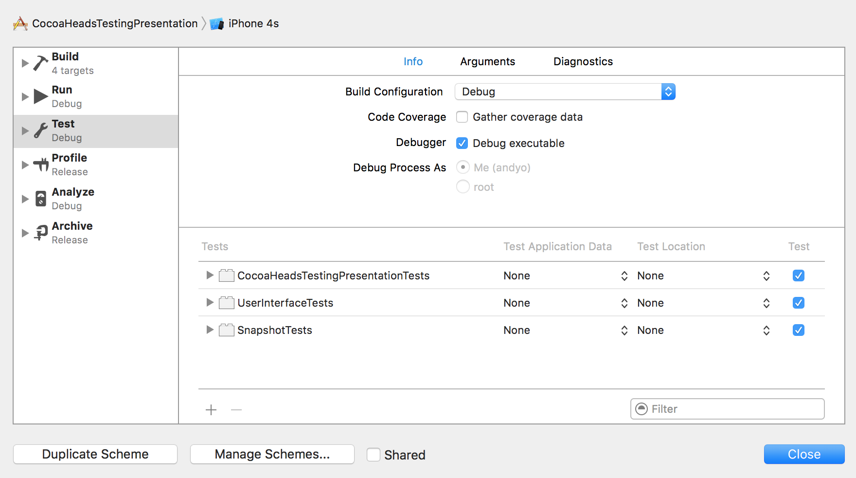 disable tests in Xcode