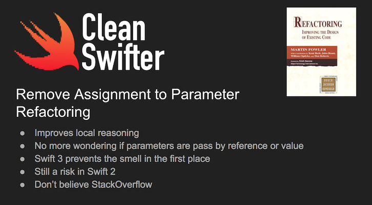 Remove Assignment To Parameter in Swift